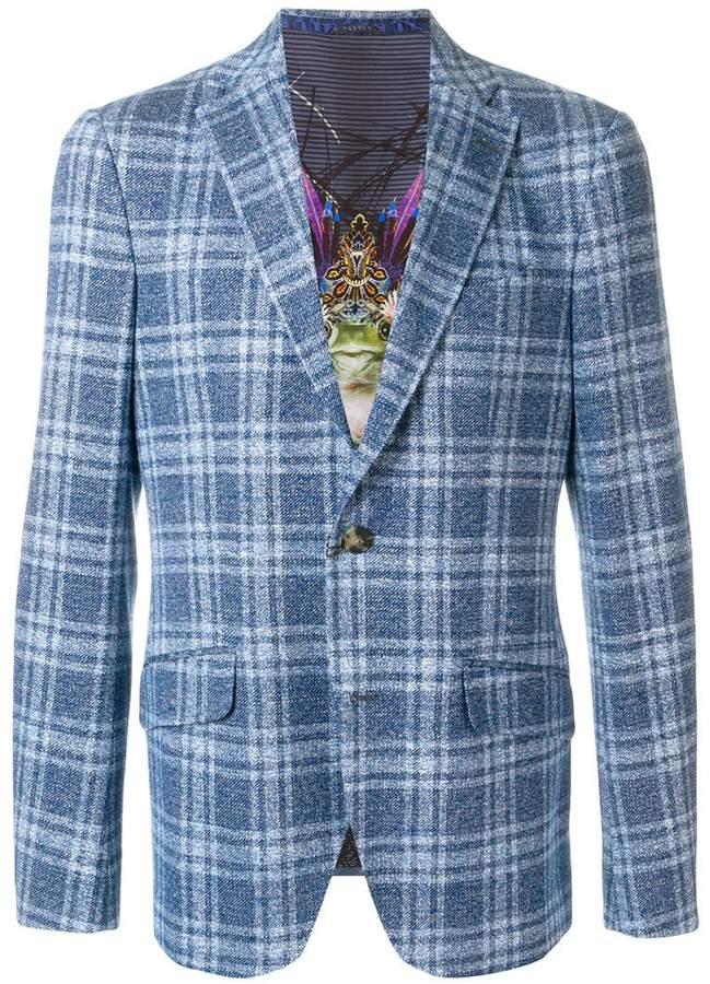Etro plaid fitted blazer