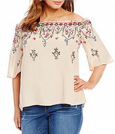 Democracy Plus Embroidered Off-The-Shoulder Top