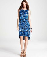 Ann Taylor Petite Filtered Blossoms Print Pleated Dress
