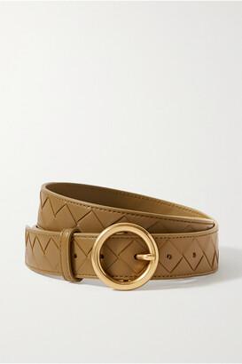 Bottega Veneta Intrecciato Leather Belt - Green