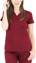 Lifethreads LifeThreads Women's Scrubs Tops Wine - Wine Pocket Notch Neck Scrub Top - Women