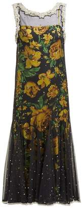 Richard Quinn Crystal-embellished Tulle Dress - Womens - Yellow Multi