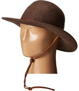"""San Diego Hat Company WFH7920 3"""" Brim Felt Round Top Floppy w/ Leather Band & Chin Cord"""