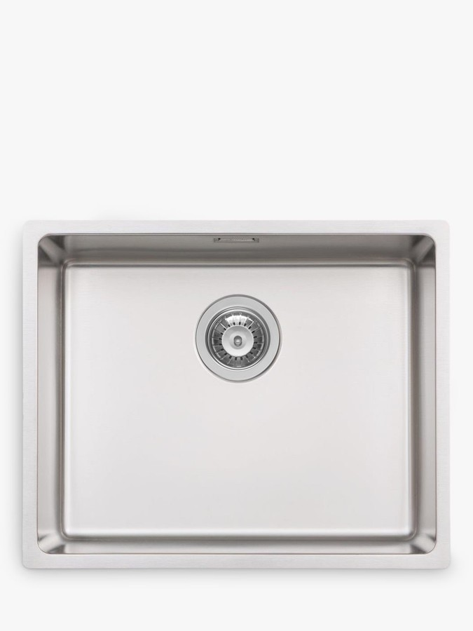 John Lewis & Partners Single Bowl Squared Kitchen Sink, Stainless Steel