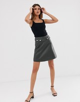 Selected a line leather mini skirt