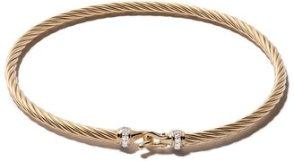David Yurman 18kt yellow gold Cable Buckle pave diamond bracelet