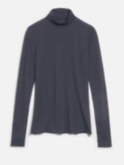 Armedangels Gray Organic Cotton Roll Neck Malenaa Long Sleeve T Shirt - XS / Gris