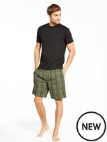 Very Short Sleeve Top And Woven Check Short Pj Set