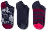 Merona Women's Low-Cut Socks 3-Pack Navy Sleepy Bear One Size