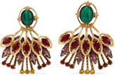 Elizabeth Cole Hannalee gold-tone, stone and Swarovski crystal earrings