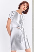 Silence & Noise Silence + Noise Striped Knot-Front Tee Dress