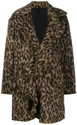 Unravel Project leopard print ruffled coat