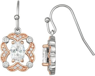 Lily & Lace Cubic Zirconia Open-Work Two Tone Drop Earrings