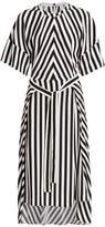 Stella McCartney Penelope Stripe Belted Silk Midi Dress
