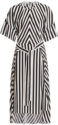 Stella McCartney Penelope Stripe Belted Silk Midi Dress