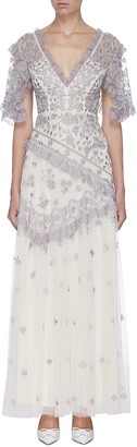 Needle & Thread 'Elsa' lace embroidered floral sheer tulle gown