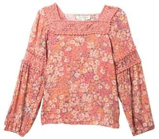 Jessica Simpson Square Neck Floral Crochet Blouse (Big Girls)