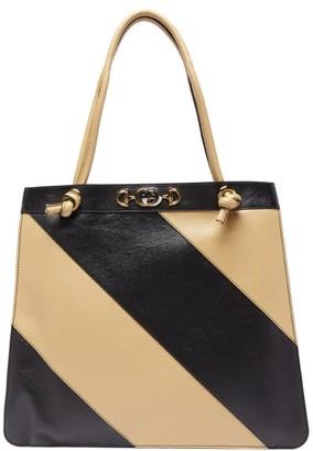 Gucci Zumi Striped Leather Tote Bag - Black White