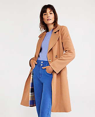 Ann Taylor Plaid Lined Trench Jacket