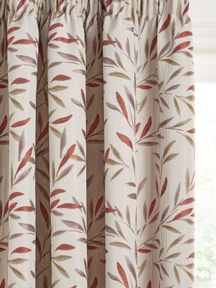 John Lewis & Partners Langley Leaf Pair Lined Pencil Pleat Curtains, Rosehip