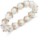 Charter Club Rose Gold-Tone Imitation Pearl and Pavé Stretch Bracelet, Only at Macy's