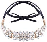 QIYUN.Z Women Retro Vintage Party Alloy Rhinestone Choker PU Leather Necklace