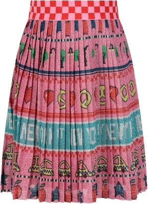 Little Marc Jacobs Pink Skirt With Colorful Prints For Girl