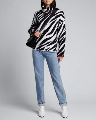 Rag & Bone Kiki Funnel-Neck Zebra Sweater