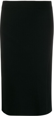 Jonathan Simkhai Ribbed Knit Side Slit Pencil Skirt