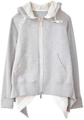 Sacai Sponge Sweat Hoodie in Light Grey