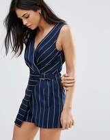 Girls On Film Stripe Romper With Cross-Over Front And Buckle Detail