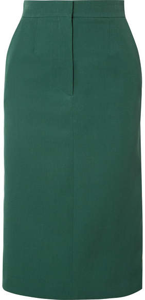 Calvin Klein Striped Wool Midi Skirt - Emerald