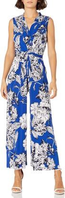 Jessica Howard JessicaHoward Women's Petite Sleeveless Surplus Jumpsuit with Tie Front