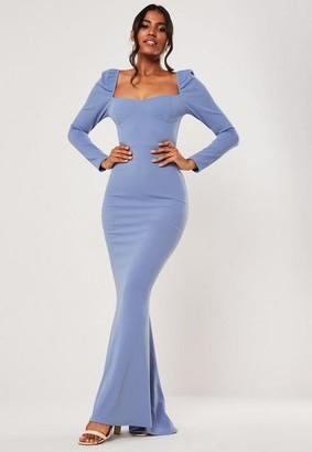 Missguided Bridesmaid Blue Milkmaid Long Sleeve Fishtail Maxi Dress