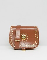 Park Lane Real Leather Studded Saddle Shoulder Bag