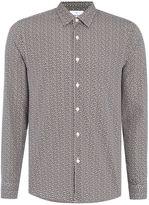 Peter Werth Men's Gray Leaf Printed Cotton Shirt