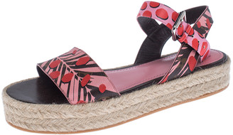 Louis Vuitton Multicolor Floral Canvas Ankle Strap Espadrille Flat Sandals Size 39