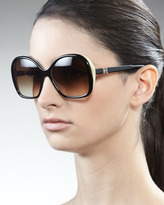 Carolina Herrera Two-Tone Sunglasses, Black