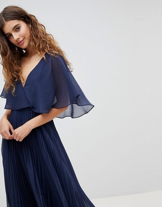 Asos DESIGN Midi Dress With Pleat Skirt And Flutter Sleeve