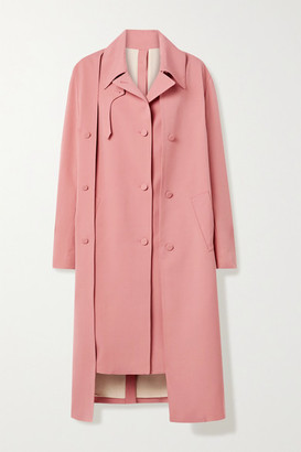Rokh Oversized Layered Crepe Trench Coat - Pink