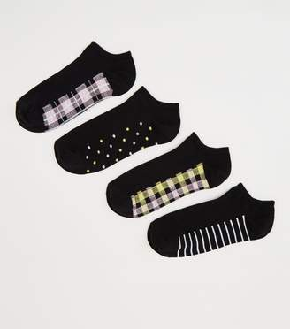 New Look 4 Pack Check Stripe Trainer Socks