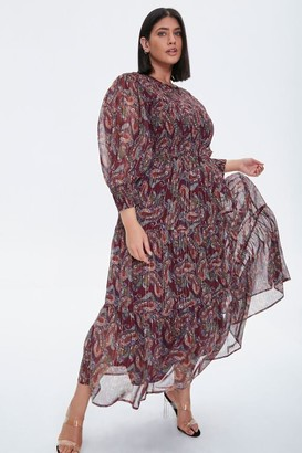 Forever 21 Plus Size Paisley Smocked Dress