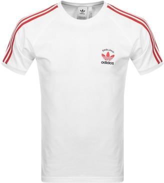 adidas 3 Stripe England T Shirt White