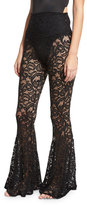 Norma Kamali Fishtail Lace Coverup Pants, Black