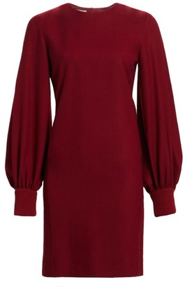 Akris Punto Puff-Sleeve Wool Flannel Shift Dress
