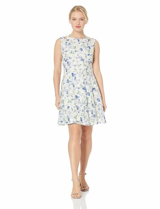 Gabby Skye Women's Petite Floral Printed Lace Fit and Flare Dress