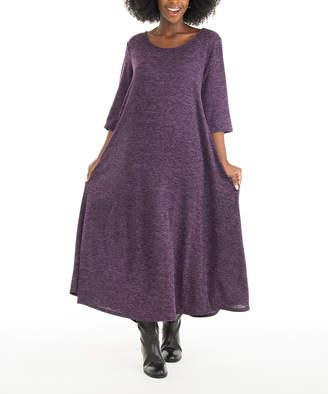 Diva D Women's Maxi Dresses PURPLE - Purple Three-Quarter Sleeve Maxi Dress - Women & Plus