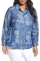 Foxcroft Plus Size Women's Bandana Print Tencel Blouse