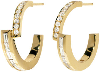 Azlee Pave and Baguette Diamond Hoop Yellow Gold Earrings