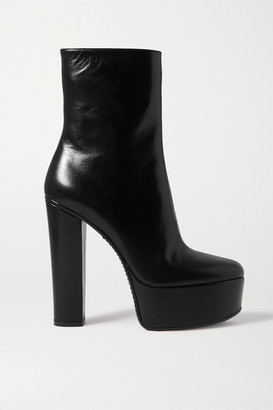 Givenchy Leather Platform Ankle Boots - Black